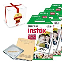 Fujifilm INSTAX Mini Instant Film 8 Pack (80 Films) for all fujifilm mini instant cameras - Photo Album - Microfiber Cloth - ~ Gift Packaging ~