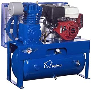 product image for Quincy QT-7.5 Splash Lubricated Reciprocating Air Compressor - 13 HP, Honda Gas Engine, 30-Gallon Horizontal, Model Number G213H30HCB