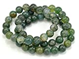 Paialco Moss Agate Gemstone Stretch Beaded Bracelet, Pack of 3
