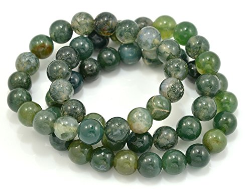 Paialco Set of 3 Moss Agate Gemstone Elastic Bead Bracelet Bead Size 6mm