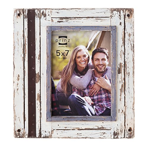 Prinz Rustic River Wood Frame in Distressed White Finish, 5 by 7-Inch (Rustic Picture Frames 5x7 compare prices)