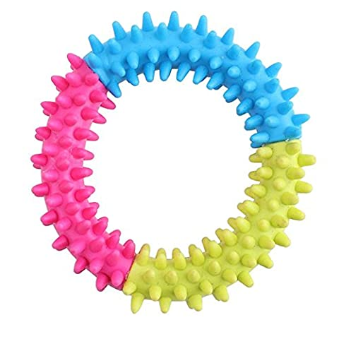 Dog's Thorn Ring Chew Toy Rubber Spiny Multicolor Circle Non-Toxic Dental Healthy Training Toys