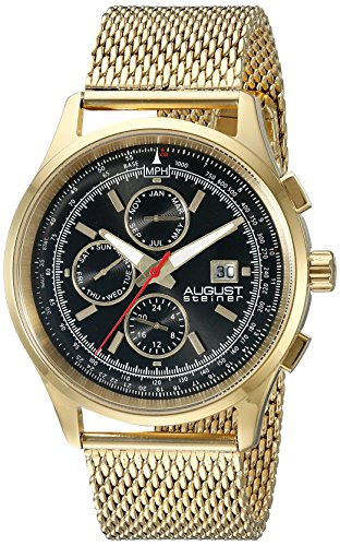 August-Steiner-Mens-AS8194YGB-Round-Black-Radiant-Sunburst-Dial-Two-Time-Zone-Quartz-Gold-Tone-Bracelet-Watch