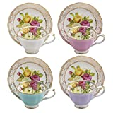 Grace Teaware Porcelain Rose Bouquet 3-Ounce Demitasse Cup and Saucer Assorted (Set of 4)