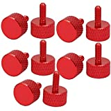 uxcellComputer PC Graphics Card M3x8mm Fully Threaded Knurled Thumb Screws Wine Red 10pcs