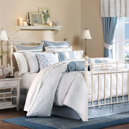Harbor House Crystal Beach Queen Size Bed Comforter Set - Pale Blue, Quilted Coastal Seashells - 4 Pieces Bedding Sets - 100% Cotton Bedroom ()