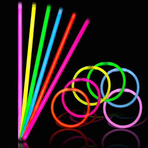 Glow Sticks - Bulk Party Glowers - 150pk - 8 Inch Ultra Bright Glowsticks - Necklaces and Bracelets Glow Stick - 10 Hour Duration - Mixed Colors with 150 Connectors in Tube