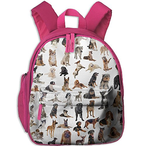 SarahKen Dog Lover Picture With Purebred Dogs Australian Sheepdog Belgian Boxer Italian Mastiff Boys And Girls School Bag Backpack Pink 12.5