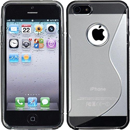 PhoneNatic Case für Apple iPhone 5 / 5s / SE Hülle Silikon grau S-Style Logo Cover iPhone 5 / 5s / SE Tasche + 2 Schutzfolien