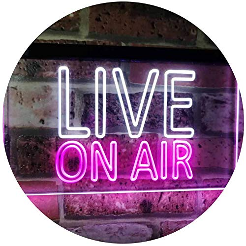 ADVPRO On Air Live Recording Studio Video Room Dual Color LED Neon Sign White & Purple 16