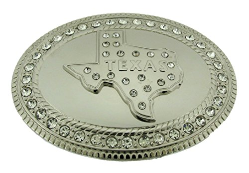 The Big State Texas US Belt Buckle Rodeo Western Unisex Silver Metal Rhinestone from buckleszone