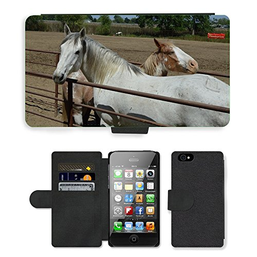 Just Phone Cases PU Leather Flip Custodia Protettiva Case Cover per // M00127476 Talahi Ruff Stock Horse Rodeo Stock // Apple iPhone 4 4S 4G