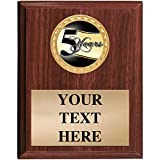 5x7 Walnut Finish 5 Year Recognition Plaques - Customized Corporate Plaque Awards Prime