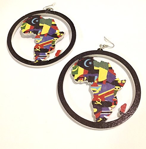 African Map Earrings, Afro American style