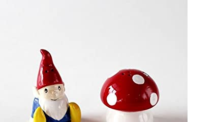 Garden Gnome On Mushroom Magnetic Salt And Pepper Shakers In Gift Box By  180 Degrees