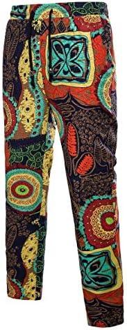 Romancly Men Folk Style Waistband Stretchy Flower Print Training Pant
