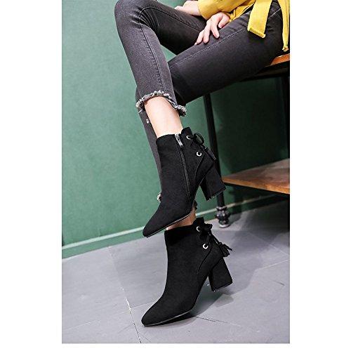 HSXZ Women's Shoes PU Winter Comfort Boots Block Heel Pointed Toe for Casual Black Green Khaki Green hhGXL