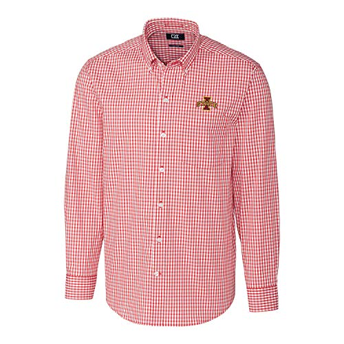 (Cutter & Buck NCAA Iowa State Cyclones Mens Long Sleeve Button Down Stretch Gingham Shirt, Cardinal Red, Medium )