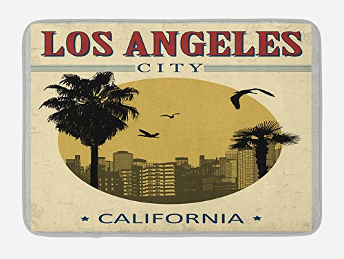 Lunarable USA Bath Mat, Los Angeles City from California in Vintage Style Birds Vacation Journey Travel Theme, Plush Bathroom Decor Mat with Non Slip Backing, 29.5 W X 17.5 W inches, Multicolor