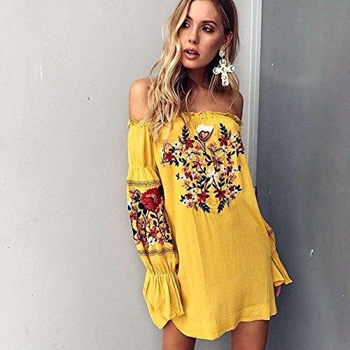 Vestido Flores Noche Casual Vestido De yellow MeiZiZi De Meizizivestido Casual Bordado fFB6qx