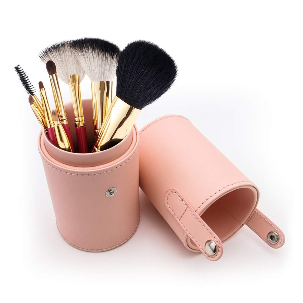Makeup Brush Case Holder Empty PU Leather Portable Cosmetic Storage Box Organiser (Pink)
