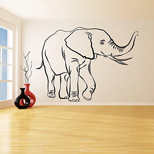 (43SabrinaGill Vinyl Wall Decal Lucky Elephant Trunk Up African Wise Wealth Trumpeting Animal Art Home Sticker 77