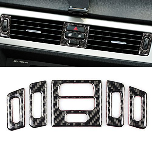 Thor-Ind Carbon Fiber Central Air Conditioning Vent Outlet Trim Cover Frame Car Styling 3D Stickers For BMW Old 3 Series E90 E92 E93 2005-2012 (Central Air Conditioner Outlet Decoration, A Style)