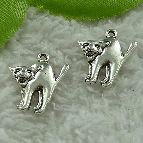 Tibet Dog Silver Charms - FidgetKute 248 Pieces Tibet Silver Dog Charms 21x19mm #3861