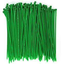 Wide 8 Inch 150 Pack Strong Tree Grass Garden Green Color Heavy Duty Cable Zip Ties--Outdoor, Garden, Office, Festivals and Kitchen Use