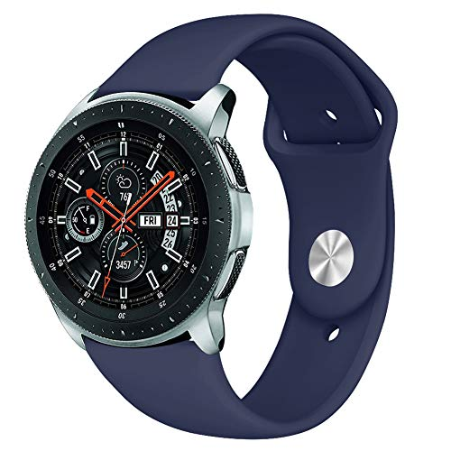 Kmasic Sport Band Compatible Samsung Galaxy Watch 46mm, Gear S3 Band, Soft Silicone Strap Replacement Wristband Compatible Samsung Galaxy Watch SM-R800NZSAXAR Smart Fitness Watch, Large, Ocean Blue