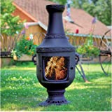 QBC Bundled Blue Rooster Venetian Wood Burning Chiminea ALCH026CH (52 inch H x 22 inch W) Charcoal Color - Plus Free QBC Metal Chiminea eGuide