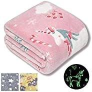 Forestar Glow in The Dark Throw Blanket, Birthday Gift for Kids Boys Girls Toddlers, Premium Super Soft Fuzzy