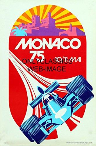 F1 Grand Prix Card - OnlyClassics 1975 MONACO GRAND PRIX 11X17 POSTER AUTO RACING FORMULA ONE INDY CAR GREAT GRAPHICS F1