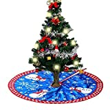 MineSha 31.5'' Christmas Tree Skirt-Christmas Tree Decorations Ornaments Plush Snowman Tree Skirt Decoration for Christmas, New Year Party