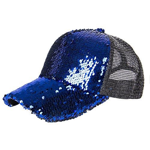 Elonmo Summer Womens Baseball Cap Sequins Fedora Hat (Blue) ()