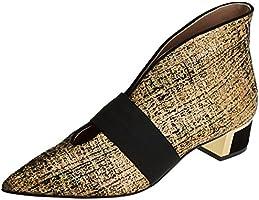 Hannibal Laguna Evelyn, Zapatos de Tacón con Punta Cerrada para Mujer, Varios Colores (Pringles ORO / Ribete Ante Negro), 40 EU