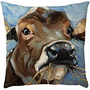 callm Pillow Case Throw Pillows Covers Simple Fashion Merry Christmas Antler Bird Pillowcase Waist Throw Cushion Cover Case New Hug Square Cow Pillowcase Decoration Sofa Home Decor (J)