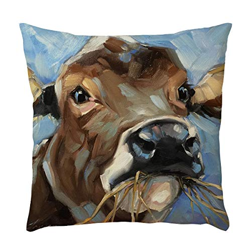 Cushion Decor Covers - callm Pillow Case Throw Pillows Covers Simple Fashion Merry Christmas Antler Bird Pillowcase Waist Throw Cushion Cover Case New Hug Square Cow Pillowcase Decoration Sofa Home Decor (J)
