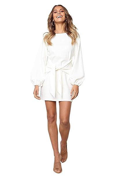 Mini Abito Autunno Inverno Donna Elegante Vestito con Cintura Moda Abiti  Corti Cerimonia Ragazza Vestiti Aderenti 36862e4c19b