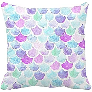 """4TH Emotion Watercolor Mermaid Scales Throw Pillow Cover Bright Summer Beach Decor Cushion Case for Sofa Couch 18"""" x 18"""" Inch"""