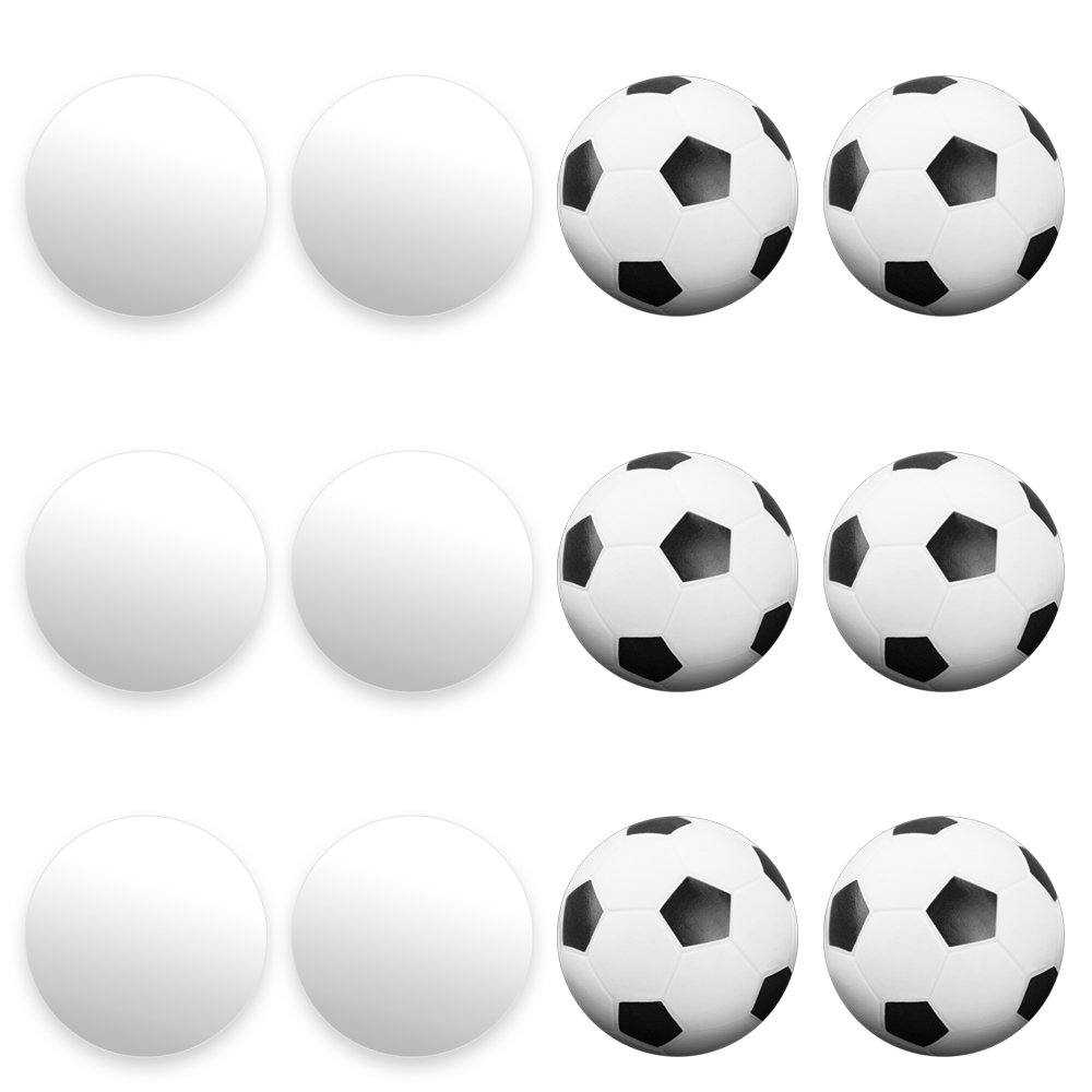 12 Pack of Mixed Foosballs – for Standard Foosball Tables & Classic Tabletop Soccer Game Balls (6 Black & White Soccer) (6 Smooth White) by Brybelly GFOO-003