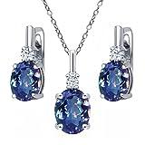 6.98 Ct Millennium Blue Mystic Quartz White Topaz 925 Silver Pendant Earrings Set