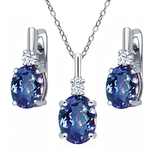 Gem Stone King 6.98 Ct Millennium Blue Mystic Quartz White Topaz 925 Sterling Silver Pendant Earrings Set