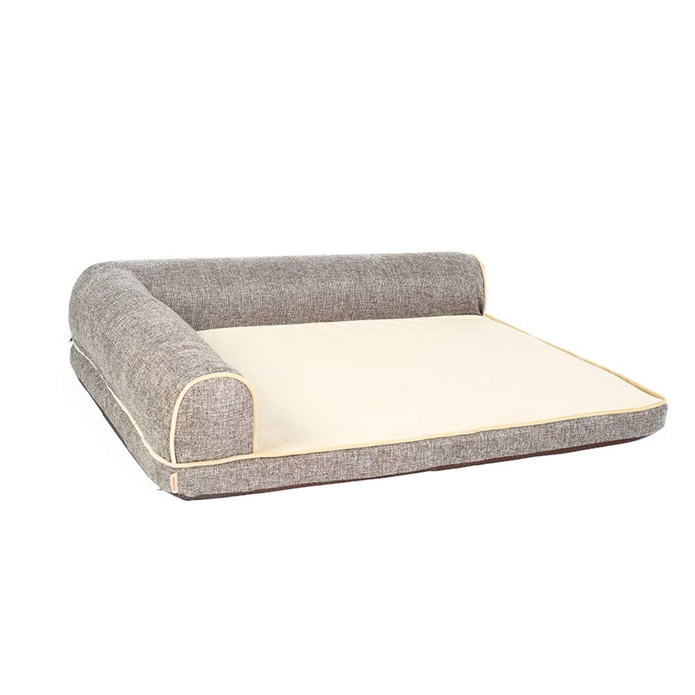 S(70×50×18cm) Dog Bed Large Mat 27.5 Inch Crate Mattress With Pillows, Non Slip Washable Cushion Pad for Pets Sleeping Coffee color (Size   S(70×50×18cm))