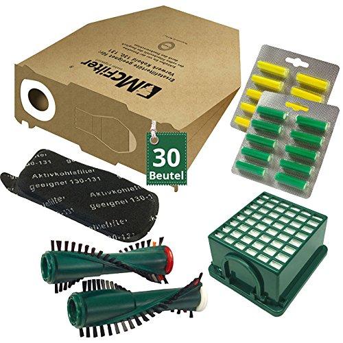 54 TLG risparmio offerta 30 Sacchetti per aspirapolvere filtro Set Spazzole e profumata adatto per Vorwerk Folletto VK 130, Folletto VK 131 e 131 SC Folletto VK 131e 131SC AVR-Handel