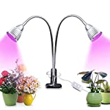 Zsunda Plant Light, Upgraded 10W Dual Head Plant Grow Light, Desk Clip Grow Lamp with 360 Degree Flexible Gooseneck and Double on/Off Switch for Indoor Office Plants and Hydroponics