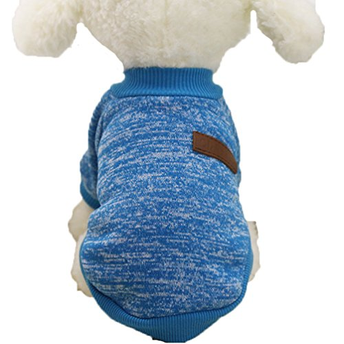 Mummumi Small Dog Clothes, Puppy Soft Thickening Warm Autumn Outwear Cat Windproof Dog Knit Sweaters Winter Clothes Outfit Apparel For Small Dog Chihuahua,Yorkshire, Terrier, Poodle (XS, Light Blue)