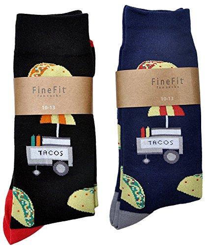 (Fine Fit Mens Novelty Trouser Socks 2 Pair Set - Choose Prints (A Taco Stand))