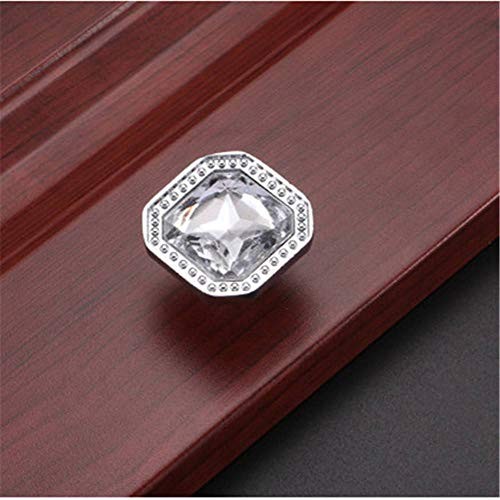 (Square Cabinet Knob Crystal Glass Cupboard Drawer Door Wardrobe Pull Handle)