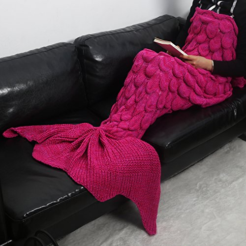Adult and Child New Mermaid Knitting Fish Blanket (Red) - 9